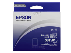 爱普生S015016 黑色  设计类型:色带架  适用机型:爱普生 LQ-660k/670K+  色带宽度:13mm  色带长度: